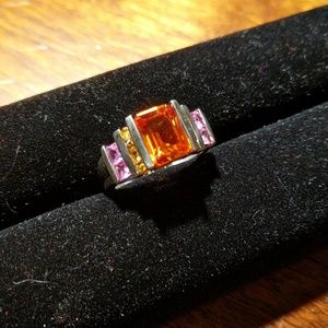 Jewelry - Mandarin Garnet & Created Pink & Yellow Sapphire